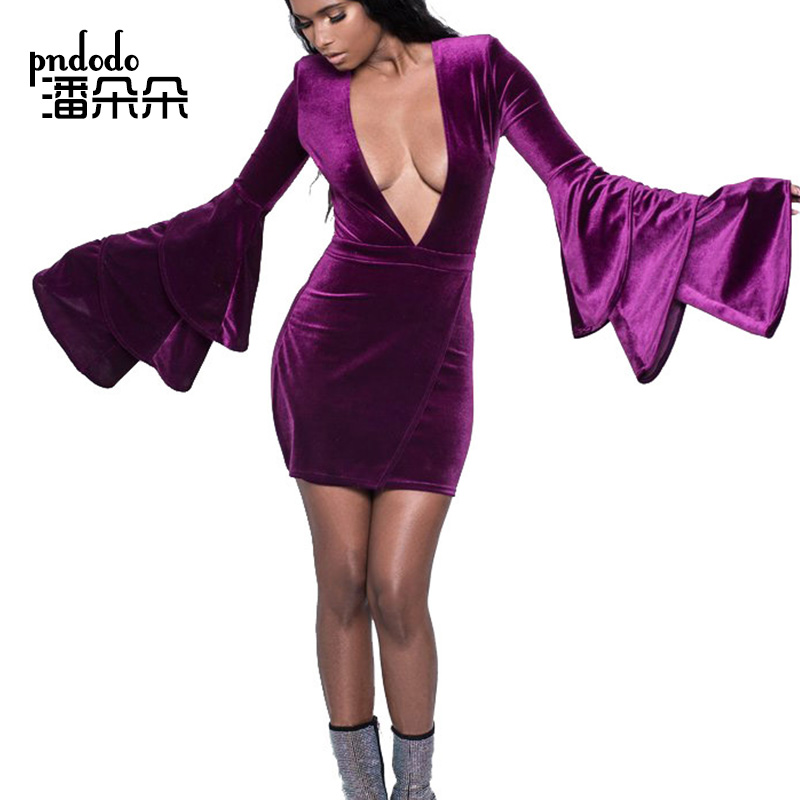 Pndodo PLUS SIZE Long Flare Sleeve Velvet Mini Dress Women Deed V Neck Solid Sheath Short Dresses Vestido Sexy Party Clubwear
