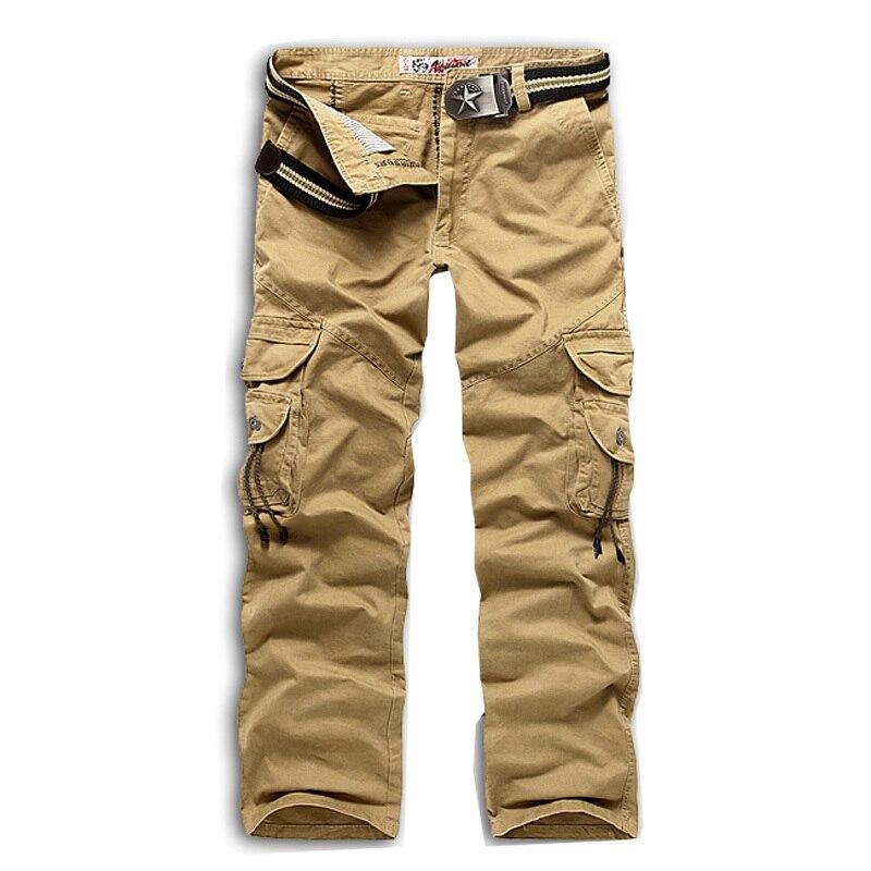 Новинка, продвижение, мужские брюки-карго камуфляж, Военный стиль, брюки, армейские брюки, хаки, мульти-комбинезоны с карманами, брюки для мужчин, большие размеры - Цвет: Хаки
