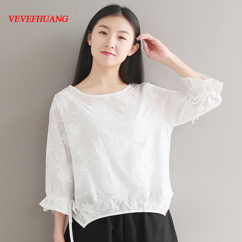 New Korean Fashion Spring Summer Top 2018 New Mori Girl White Tshirt Female Cotton Solid Color Flower Embroidery White T-shirt