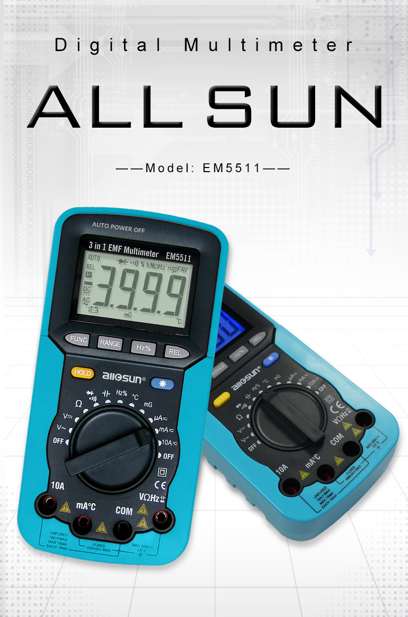 ALL SUN EM5511 3in1 Auto Range Digital Multimeter Voltmeter Ammeter Ohmmeter DC AC EMF Multimeter Automotive Tester