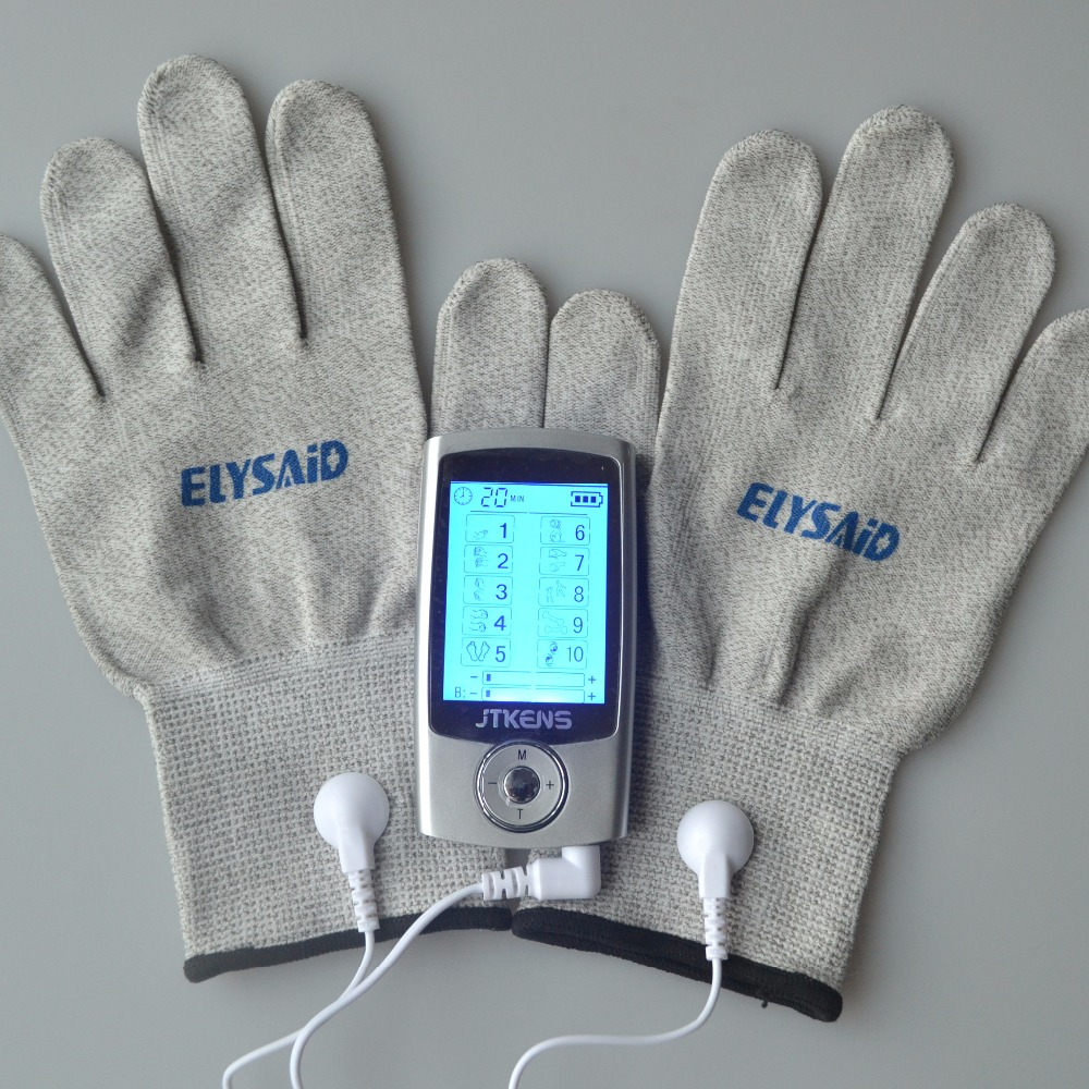 Dual-Channels TENs Digital Therapy Massager Electrical Muscle Stimulator With 1 Pair Electrode Conductive Silver Gloves For TENs классические nike официальный мяч рфпл nike ordem v sc3488 707