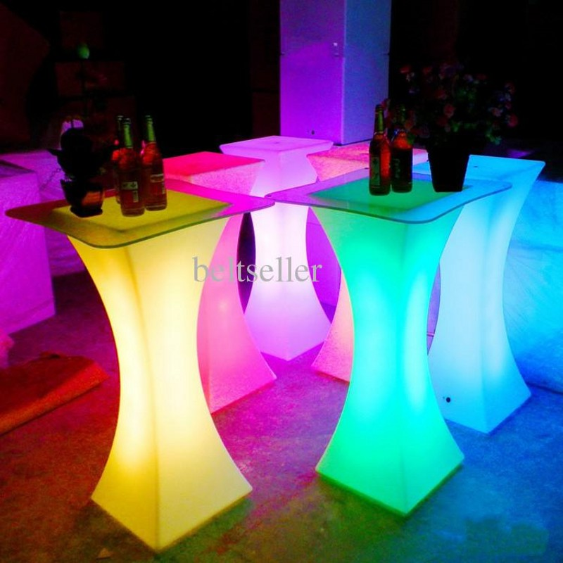 Rechargeable LED Illuminated Cocktail Table Waterproof Glowing Led Bar Table Lighted Up Coffee Table Bar KTV Disco Party Supply(China)