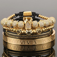 4pcs/set Men Bracelet Crown Pave CZ Zircon Stainless Steel B