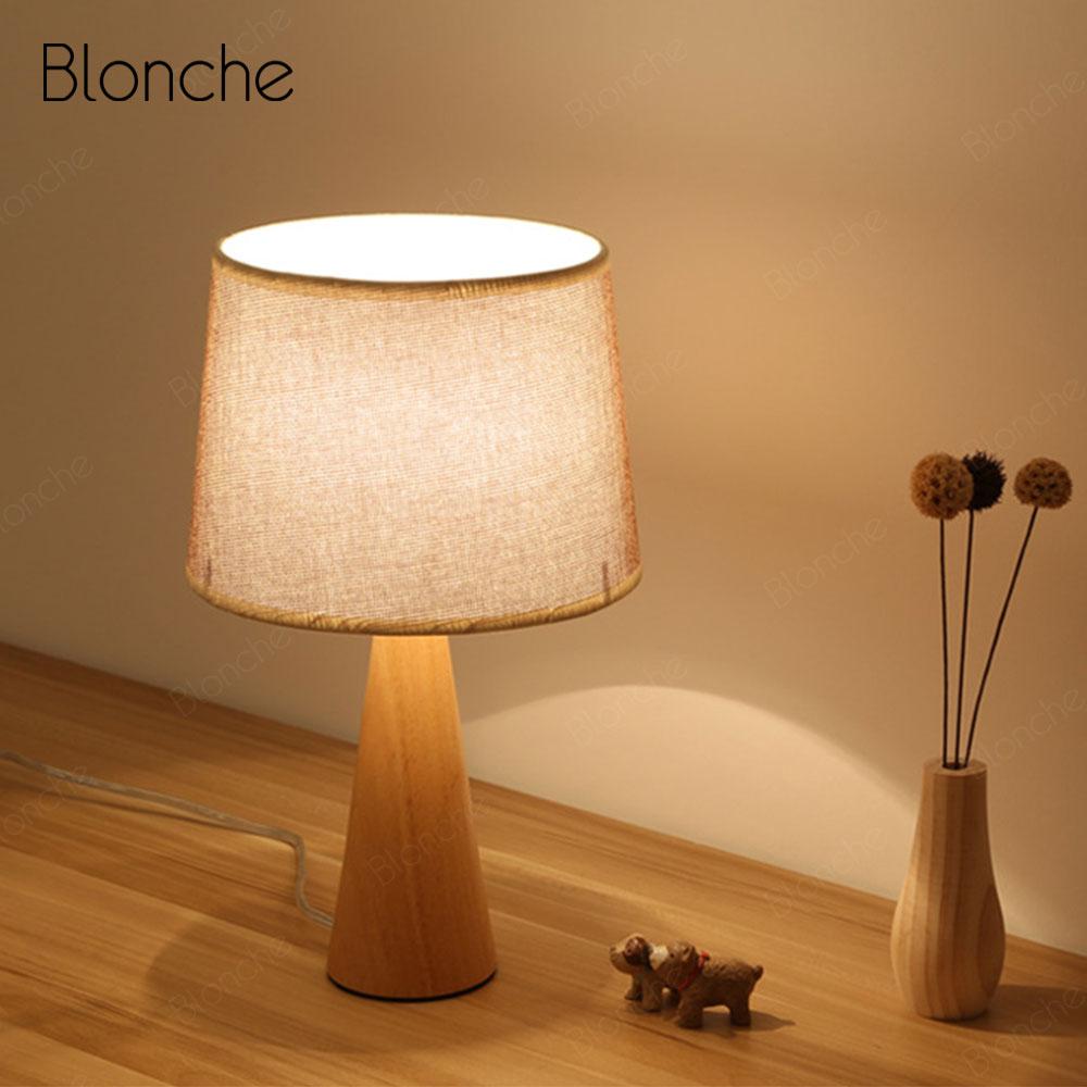Table Lamps E27 Wood Base Desk Light