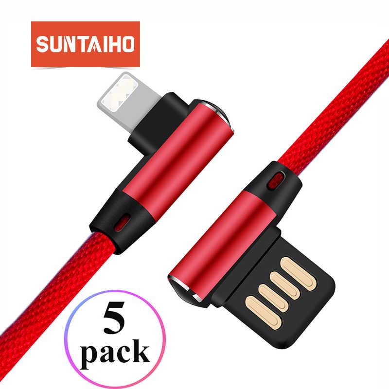 Suntaiho [5-Pack] 90 Gradi Cavo USB per il iphone Xs Max 2.4A Veloce di Ricarica Cavo Dati per iPhone Xr 5 6 6 s 7 8 iPad Caricatore USB