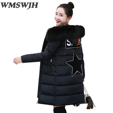 Wmswjh Winter New Plus size Women Medium-long Hooded Jacket Fashion Fur Collar Slim Cotton-Padded Jacket Elegant Parkas Female