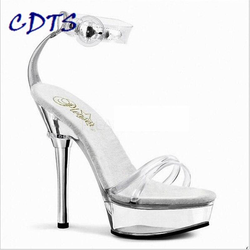 ФОТО CDTS Plus:35-46 Summer 2016 sequins sandals 14cm thin high heels Women wedding shoes Nightclub Crystal platform pumps