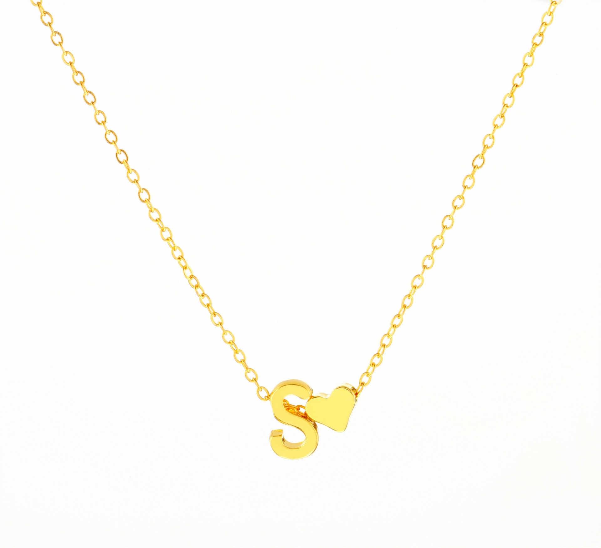 2018 זעירים אופנה מעודנת לב מכתב שרשרת שם אישית שרשרת ראשונית מתנת חברה אביזרי תכשיטים לנשים