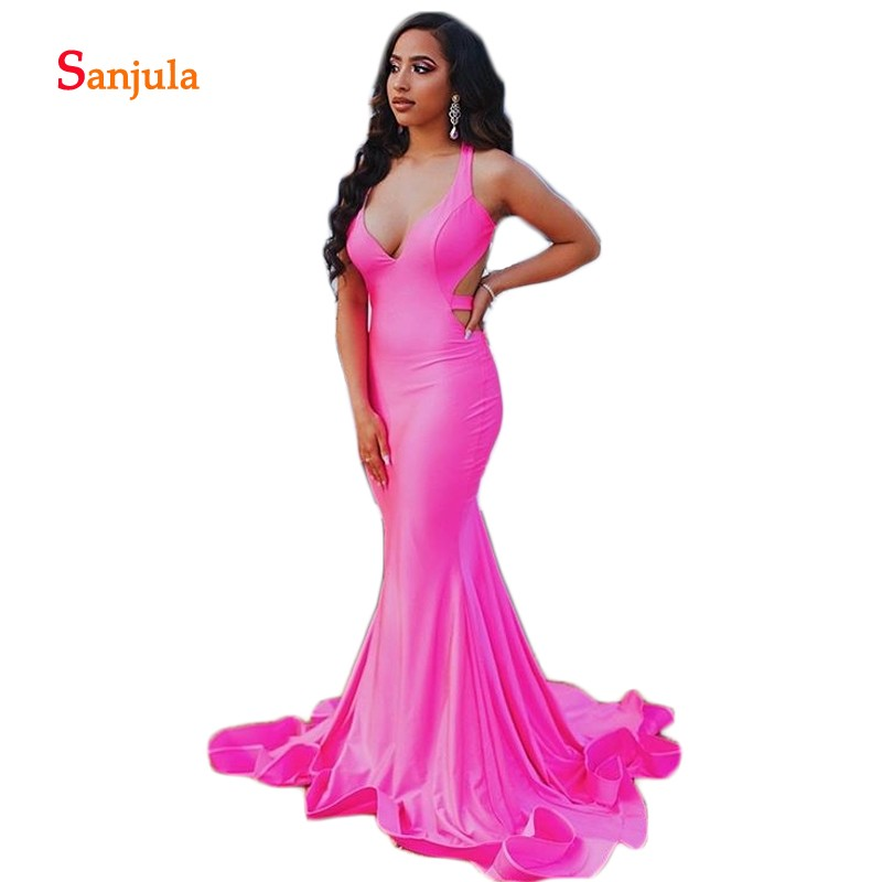 Backless   Prom     Dresses   Gowns 2019 Fuchsia Mermaid Formal Evening   Dresses   Sweetheart Halter Graduation   Dress   ballkleider lang D985