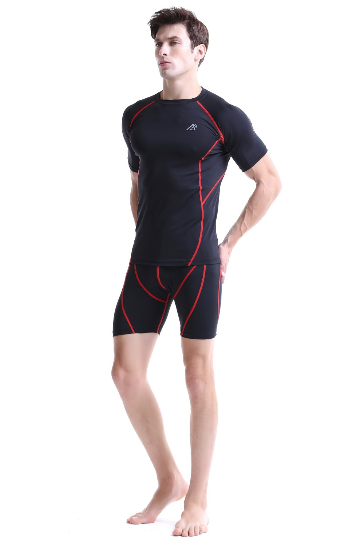 Leben auf der spur Compression Baselayer T shirt Männer Lange/Kurzarm Fitness Set Gymnastik Laufhose/Leggings Plus Größe - 4