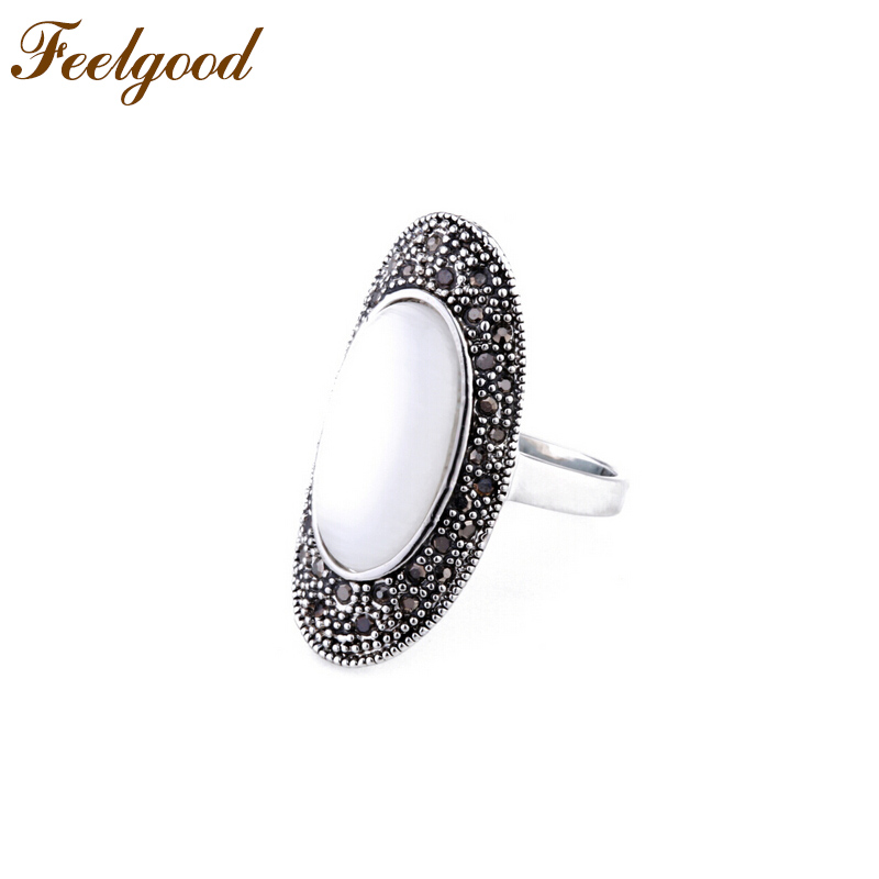 Feelgood Retro Opal Stone Ring Women Fashion Jewelry Antique Silver Color Vintage Rhinestone Alloy Rings