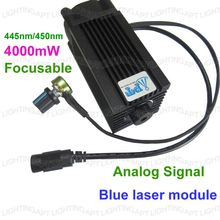 DIY Analog signal CNC 4000mw/4w 450nm Focusable blue Laser Module diode laser cutting Engraving carving Machine Adjust  Power  diy focusable 445nm 7w 7000mw blue laser module high power for cnc cutter engraver engraving machine adjust freeshiping by dhl