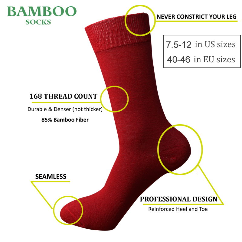 Match-Up  Men Bamboo red Socks Breathable Anti-Bacterial man Business Dress Socks (6 Pairs/Lot)