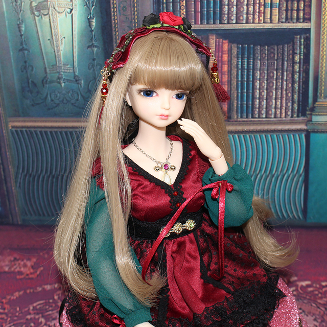 free shipping 1/4 bjd doll 45cm with/without clothes shoes long brown wavy hair makeup joint body 3