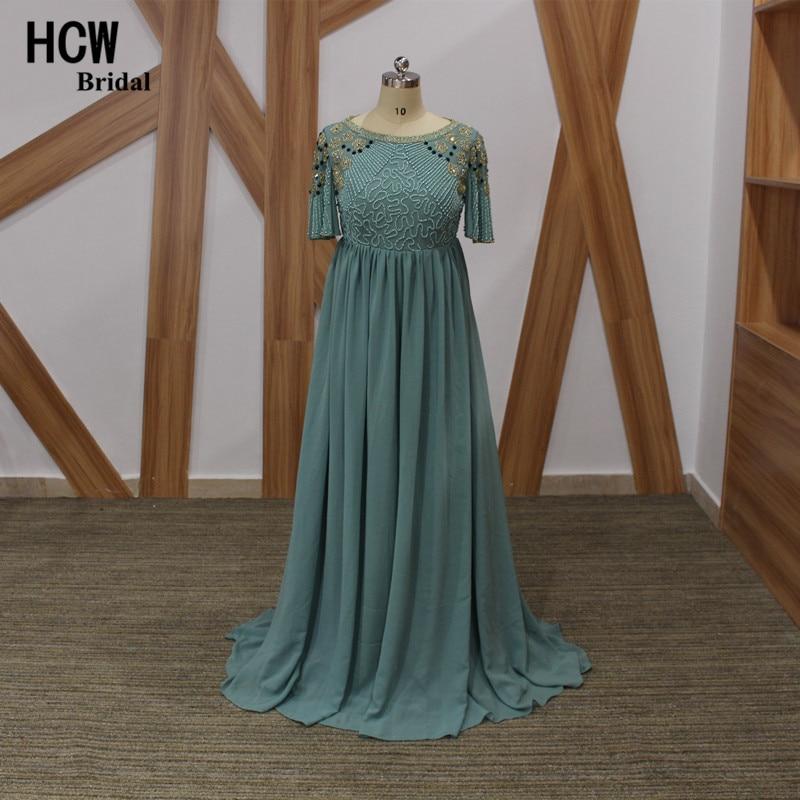 Mewah manik-manik lengan pendek gaun malam, Pinggang tinggi A-line wanita hamil gaun acara, 2019 baru gaun malam panjang Arab