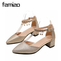 FAMIAO Wedding Shoes 2018 Crystsl Women Pumps Party Big Size Gold Pumps Women Shoes Sliver High
