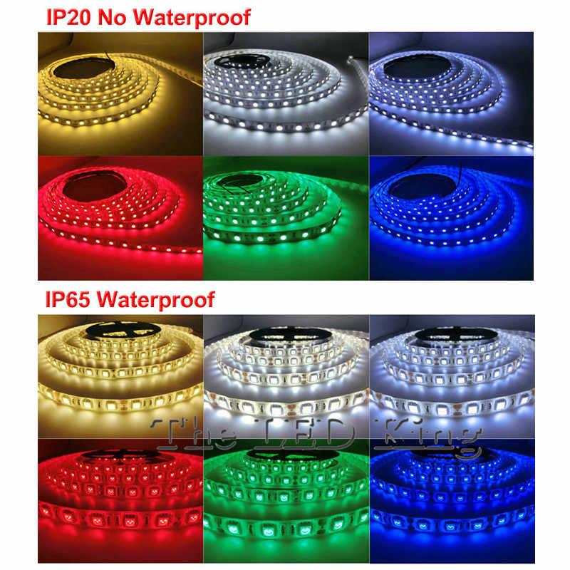 10M 5M 60LED/M 3528 5050 RGB Led Strip Lampu Non Tahan Air Lampu LED Fleksibel Rgb dioda Led Tape Set Merah Biru Hijau Putih Hangat