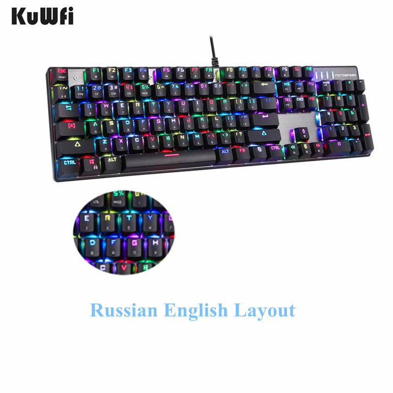 russian english layout metal keyboard blue red switch gaming wired mechanical keyboard rgb anti. Black Bedroom Furniture Sets. Home Design Ideas