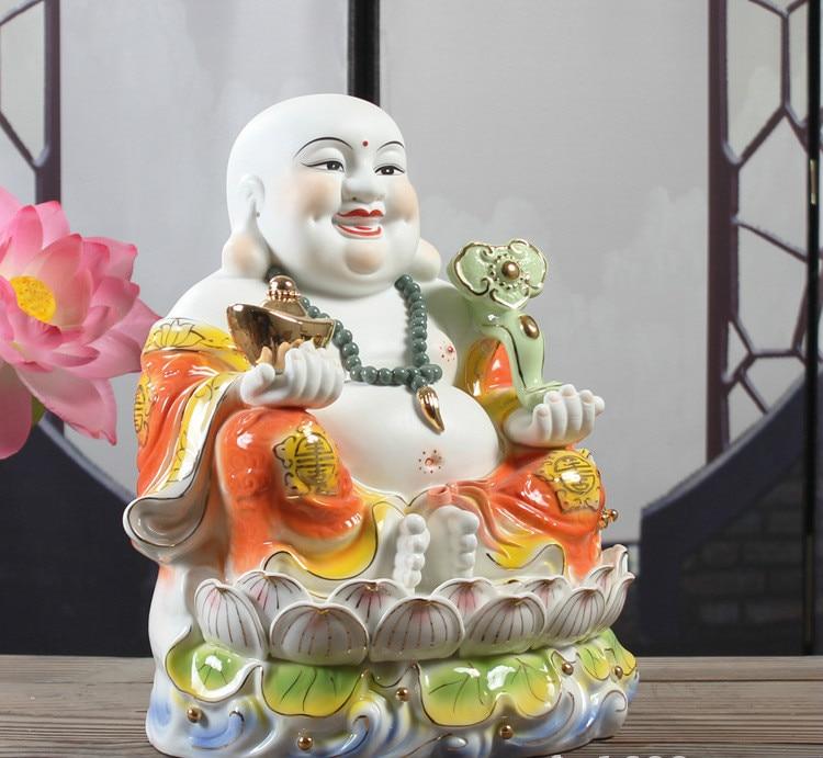 เซรามิค Maitreya พระพุทธรูปรูปปั้นนั่งอยู่บน Lotus Mammon พระเจ้า Fortune พระพุทธรูป Figurine Fengshui ตกแต่งบ้าน 24 ซม. ความกว้าง 25 ซม.-ใน รูปแกะสลักและรูปจำลอง จาก บ้านและสวน บน   3