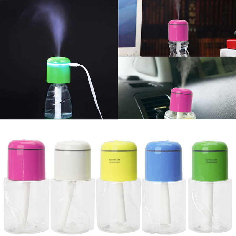 Ultrasonic Mist Make Bottle Caps LED Light Air Humidifier Diffuser Fogger 180mL