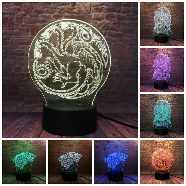 Canção De Gelo E Fogo Figura 3D Ilusão LED 7 Cores Mudança Nightlight Árvore de Game of Thrones Casa Targaryen Dragão brinquedos modelo