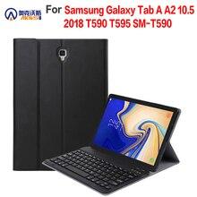 Pokrowiec na Samsung Galaxy Tab a 10.5 T590 T595, z bezprzewodową klawiaturą Bluetooth, pokrowiec na kartę Galaxy SM T590 PU Leather Funda