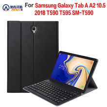Removable Bluetooth Keyboard Kulit Case untuk Samsung Galaxy Tab A2 10.5 2018 T590 T595 SM-T590 Cover Funda(China)