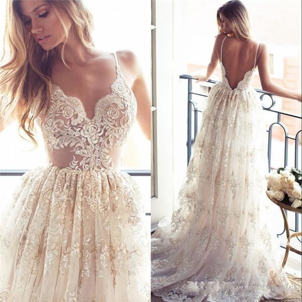 Fashion Designer Beach Wedding Dresses A Line Lace Flower V Neck ...