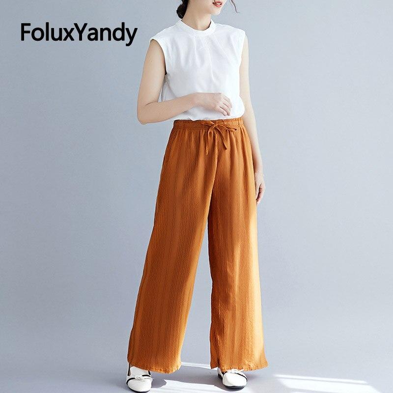 Brand New Loose Women Pleated   Pants   Women Plus Size XXXL 5XL Casual High Waist   Wide     Leg     Pants   Trousers NQYL89