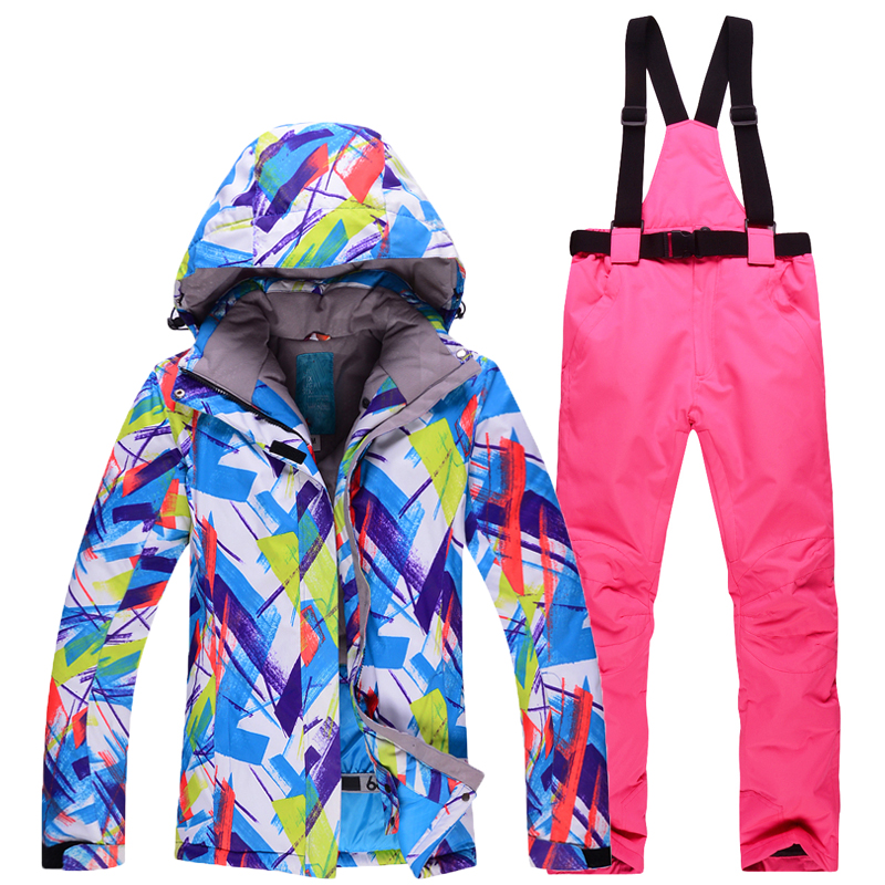 New High Quality Women Skiing Jackets And Pants Snowboard sets Thick Warm Waterproof Windproof Winter female Ski suit Sports Set top quality womens skiing suit sets windproof waterproof thermal snowboard jackets and pants girl winter cotton snow dress