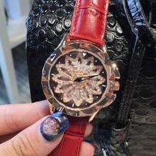Luxurious Ladies Diamond Quartz Watch Women Feminine Leather-based Costume Wristwatch Rotatable Dial Watch Montre Femme Relojes Mujer OP001