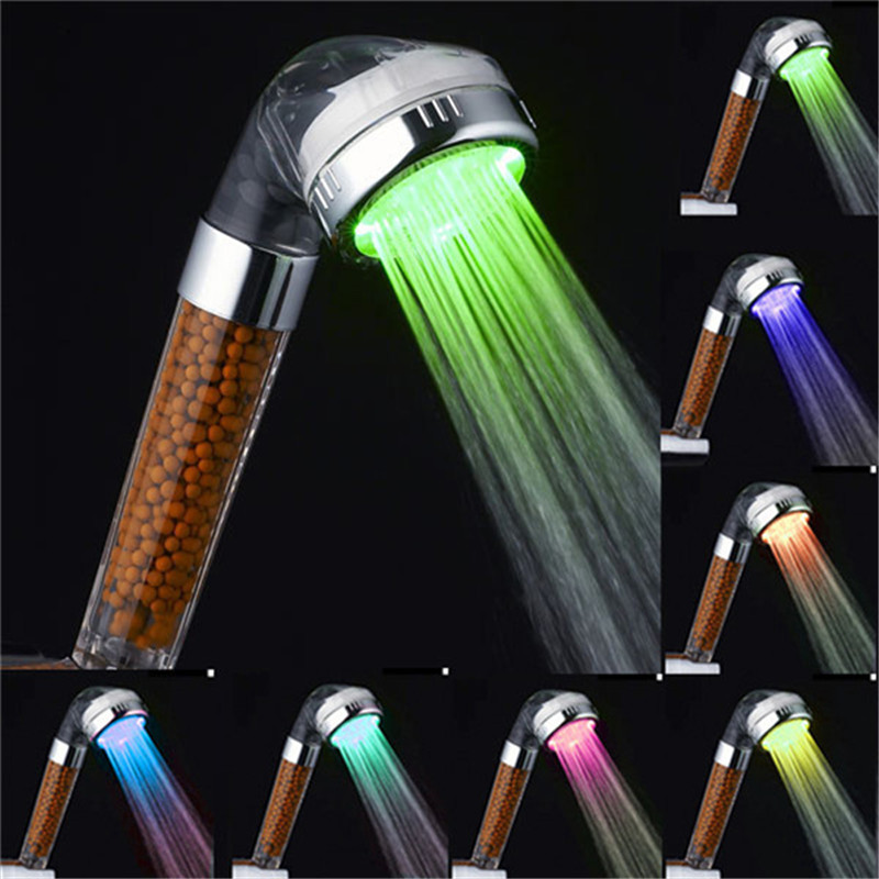 Temperature Sensitive 3 Color Changing LED Shower Head + Chroming No Need Power Green/Red/Blue 3 Color Change w/ 12 LEDS light