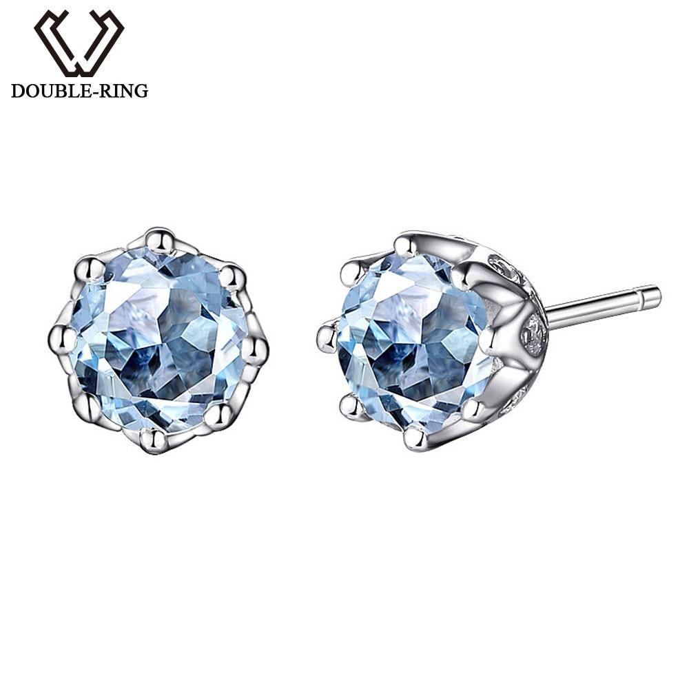 DOUBLE-R London Blue Topaz Stud Earrings dengan March Birthstone - Perhiasan bagus