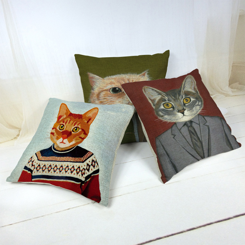 Cat Pillowcase Square Cushion Cover Pillow Cover For Office Sofa Home Decal F