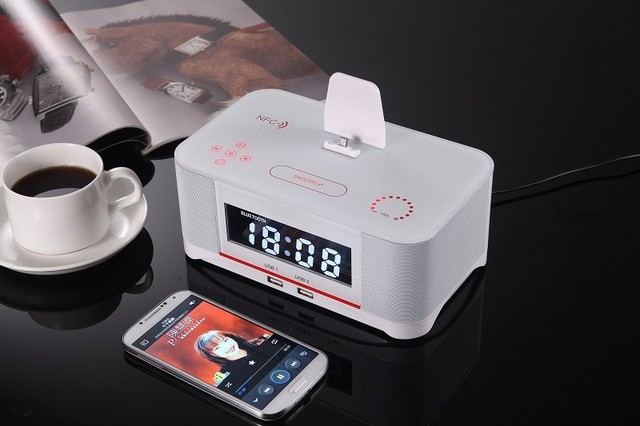 Brand new High-Class NEW NFC Lighting Alarm Dock Docking Station Bluetooth Speaker White for Samsung Android
