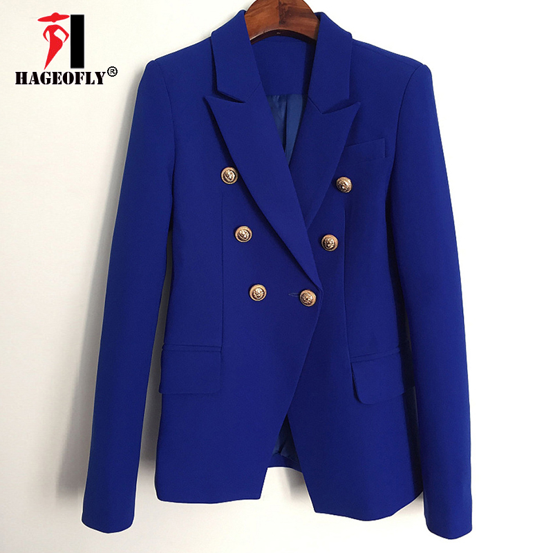 HAGEOFLY New Runway Designer Blue Blazer Jacket Women s Metal Lion Buttons Double Breasted Blazer Outer