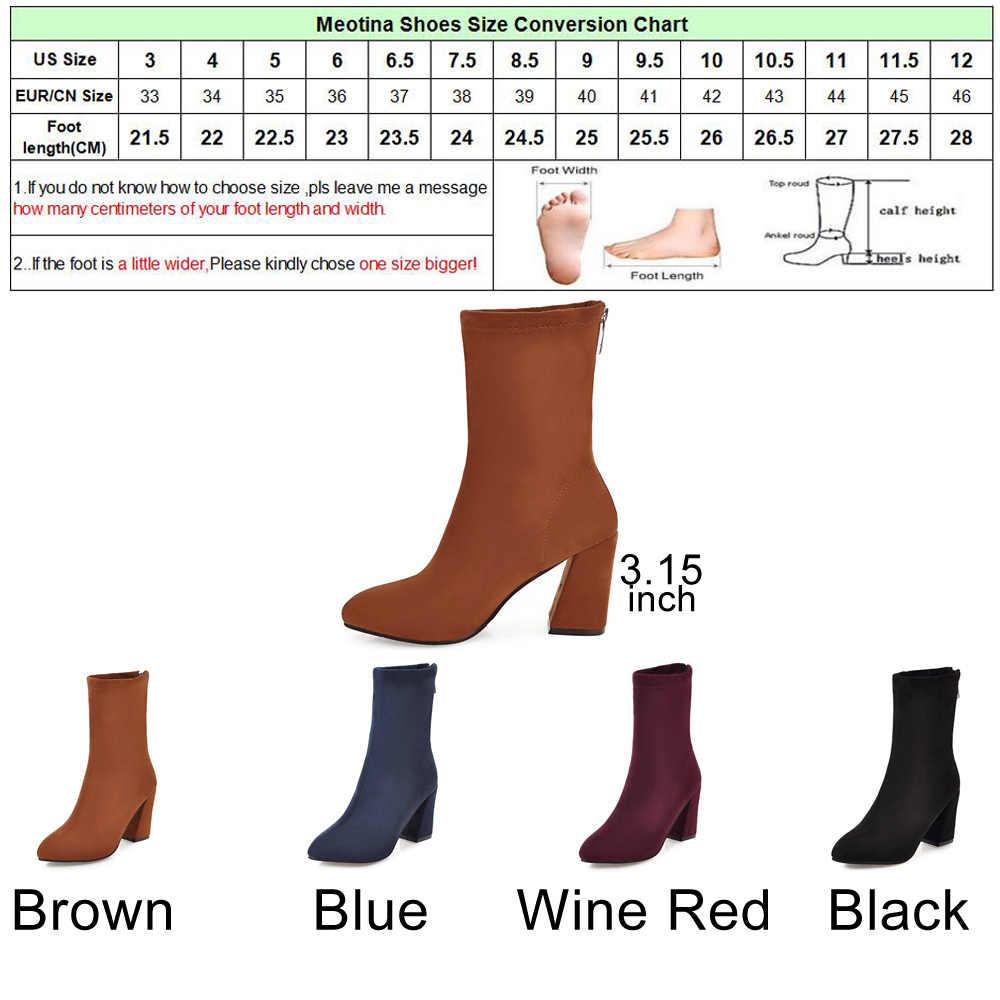 Meotina Kış Orta Buzağı Çizmeler Kadın Çizmeler Zip Lüks Çorap Botlar Batı Çizme 2018 Kadın siyah ayakkabı Mavi Kırmızı Artı Boyutu 34-43