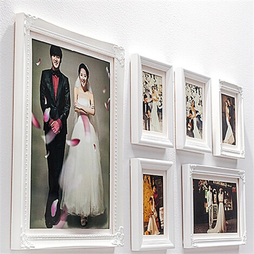 hot 6pcsset picture photo frame set wall mural pure white wedding photos frames sticker - White Picture Frame Set