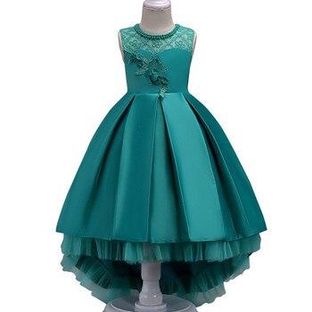 fa507b04b787 Letní květinové krajky dívky svatební průvod party šaty princezna formální  plesové šaty velikost 3-14 let 2018 nové dítě dívka oblečení