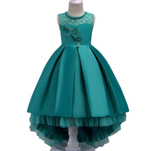Summer Flower Lace Girls Wedding Pageant Party Dresses Princess Formal Prom Gowns Size 3-14 Years 2018 New Kid Girl Clothes