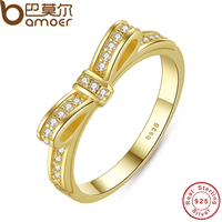 BAMOER Authentic 100 925 Sterling Silver Bow Knot Stackable Ring Micro Pave CZ Wedding 14K Rose