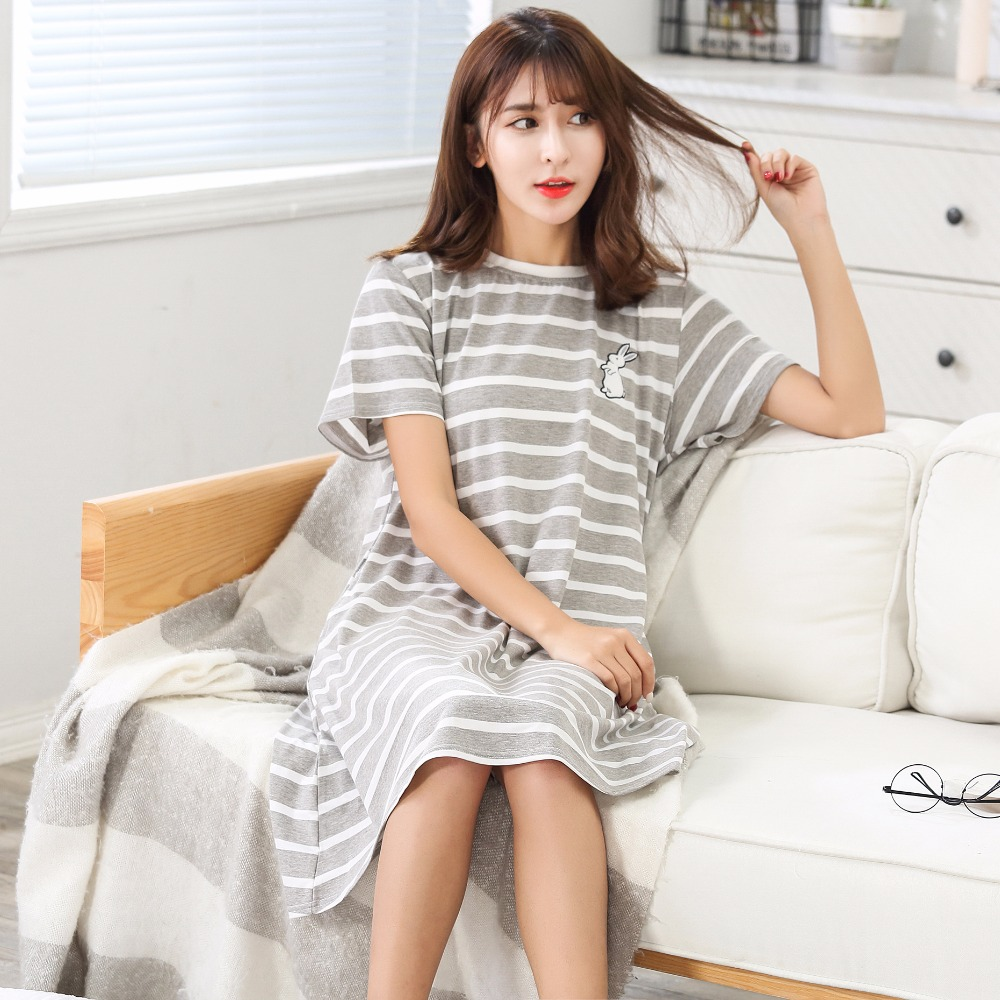 New Arrival Summer 100%Cotton Striped Women Short-sleeved Nightgown Sleepshirts Cartoon Plus Size M-5XL Ladies Lounge Nightdress