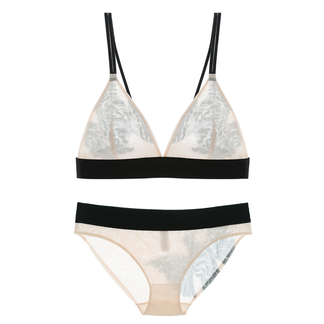 New Lounge Bra Set Women Sexy Wireless Birds Print Strappy Low V Casual Ultra-thin Triangle Bralet and Panty Sets Lingeries S-XL