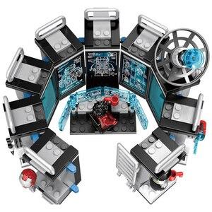 Image 3 - 608 sztuk mały budynek klocki kompatybilny Lepinging Iron Man Hall of Armor Marvel superbohaterowie Avengers prezent dla dziewcząt chłopców