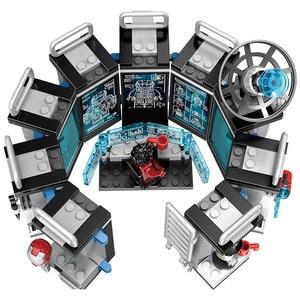 Image 3 - Figuras de acción de superhéroes de Marvel, Juguetes de bloques de construcción pequeños compatibles con leping, Iron Man, Salón de la armadura, regalo para niñas y niños, 608 Uds.