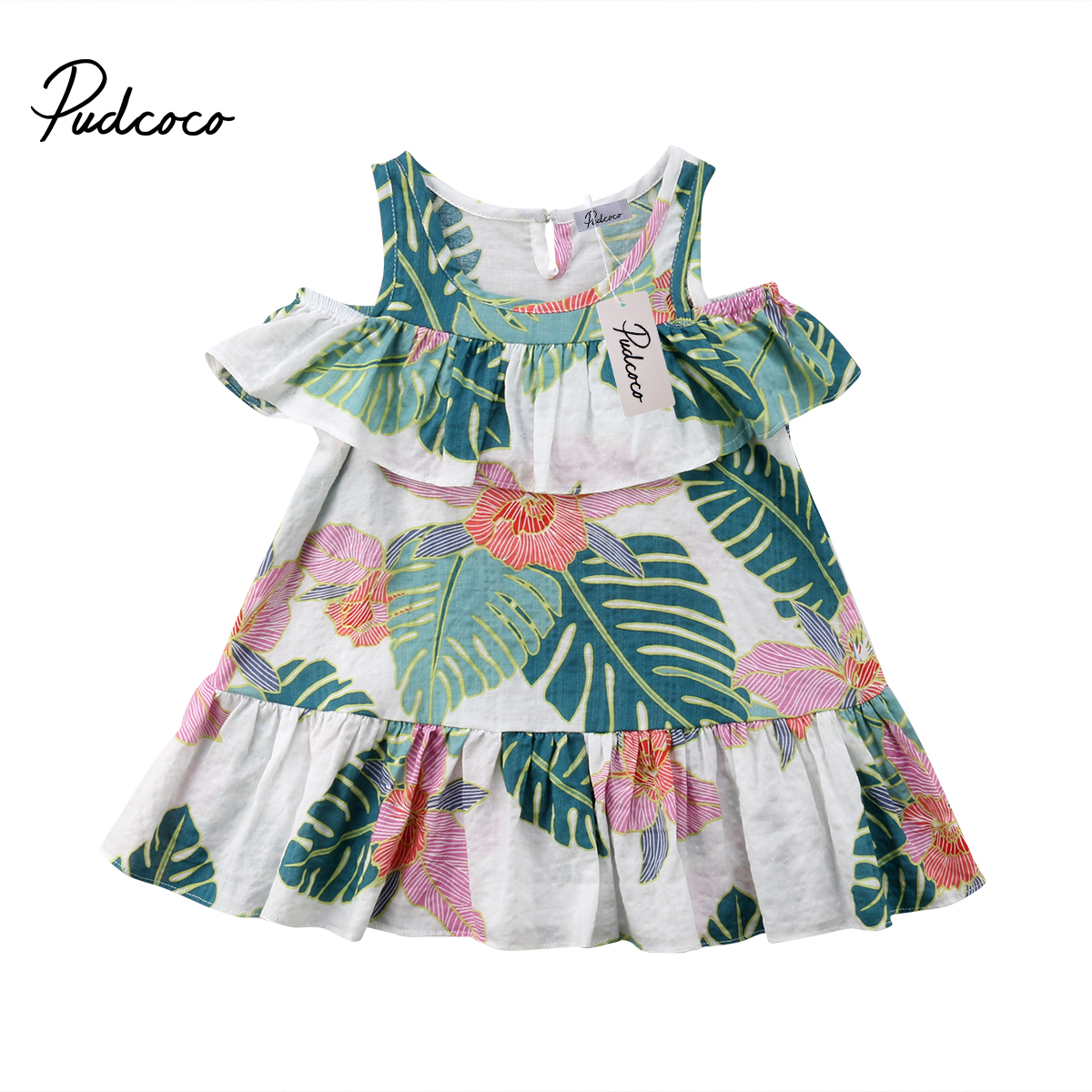 Pudcoco  Kids Baby Girl Princess Off Shoulder Leaves Print Dress Clothes 1-6Years Helen115