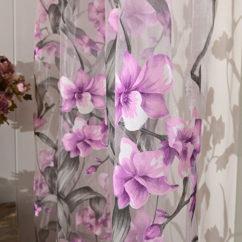 Ziedu izdegšanas tilla aizkari viesistabas balss aizkariem - Mājas tekstils - Foto 4