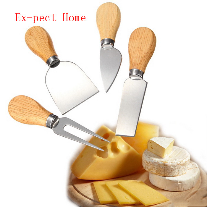 Free shipping 50 sets 4pcs/sets Knives Bard Set Oak Handle Cheese Knife Kit Kitchen Cooking Tools Useful Accessories image