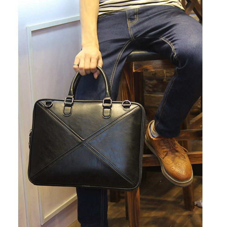 Hot Sales Black Briefcase Bag Men's Business PU Leather Laptop Satchel Portfolio Office Case Travel Crossbody Messenger Bag