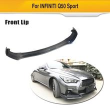 Углеродного волокна передний спойлер бампер передний спойлер для Infiniti Q50 Спорт 4-двери- Стильный автомобильный бампер разветвители